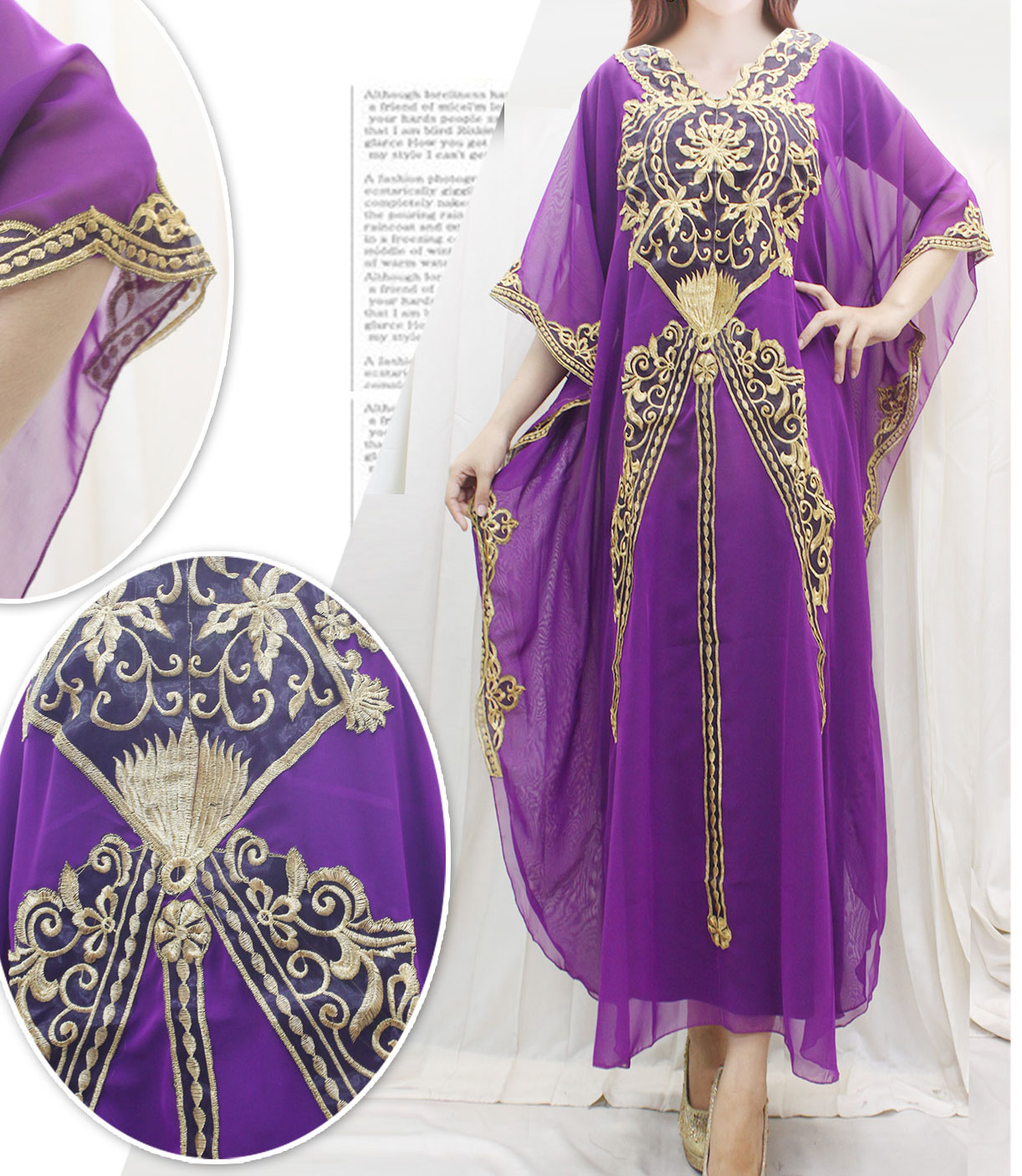 Fancy maxi dress wedding kaftan dress purple chiffon for Purple maxi dresses for weddings